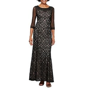 Alex Evenings Illusion Fit and Flare Dress Black NEW